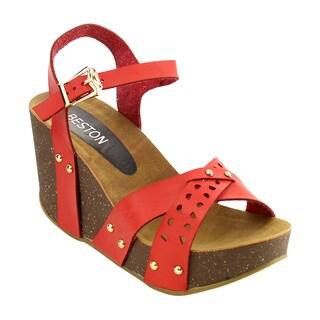 Beston ID99 Women's Cutout Stud Criss Cross Strap Platform Wedge Sandal
