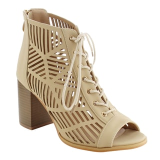 Reneeze AG28 Women's Lace Up Cut Out Back Zipper Stacked Heels