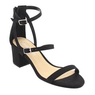 CityClassified IE09 Women's Tripple Strap Buckle Back ZipBlock Heel Dress Sandal
