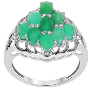 Orchid Jewelry 925 Sterling Silver 2 3/5 Carat Emerald & Cubic Zirconia Cluster Ring