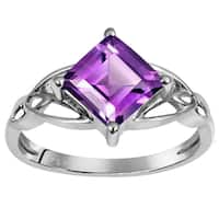 Orchid Jewelry 925 Sterling Silver 1 2/3 Carat Amethyst Ring