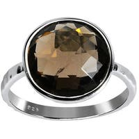 Orchid Jewelry 925 Sterling Silver 5 Carat Smoky Quartz Ring
