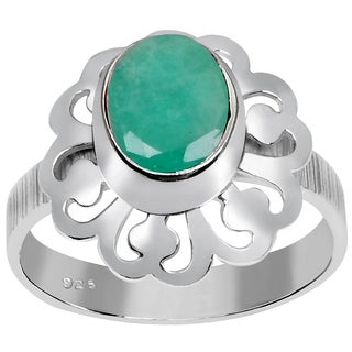 Orchid Jewelry 925 Sterling Silver 1 1/4 Carat Emerald Ring