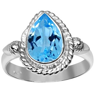 Orchid Jewelry 925 Sterling Silver 2 2/7 Carat Blue Topaz Ring