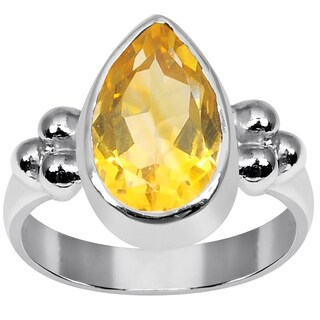 Orchid Jewelry 925 Sterling Silver 2 1/6 Carat Citrine Pear Shape Ring
