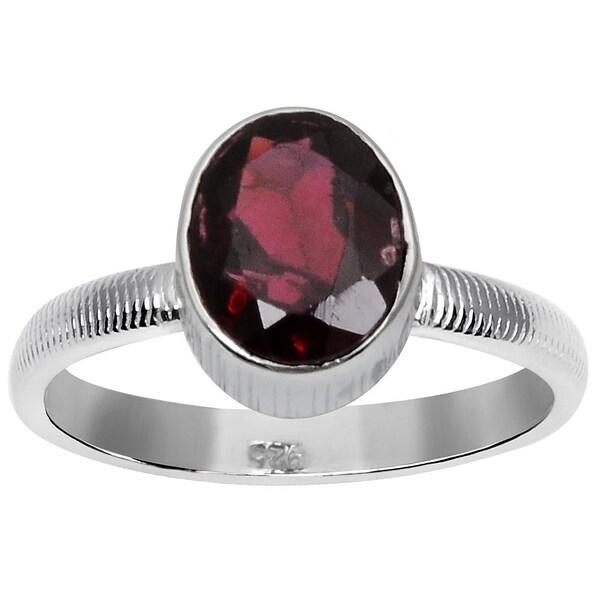 1.85 Ct Round Red Rhodolite Garnet 925 Sterling Silver 5-Stone Band Ring