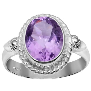 Orchid Jewelry 925 Sterling Silver 2 2/5 Carat Amethyst Ring