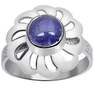 Orchid Jewelry Sterling Silver 1 1/9 Carat Tanzanite Cab Stone Ring