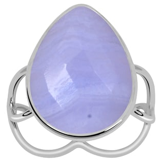 Orchid Jewelry 925 Sterling Silver 8 1/2 Carat Blue Lace Agate Ring