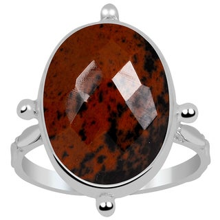 Orchid Jewelry 925 Sterling Silver 6 4/9 Carat Mahogany Obsidian Ring