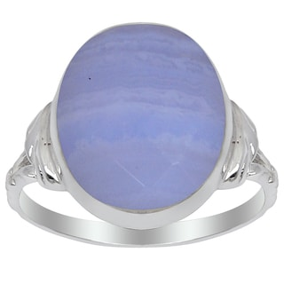 Orchid Jewelry 925 Sterling Silver 7 3/4 Carat Blue Lace Agate Ring