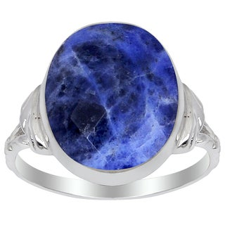 Orchid Jewelry 925 Sterling Silver 6 Carat Sodalite Oval Shape Ring