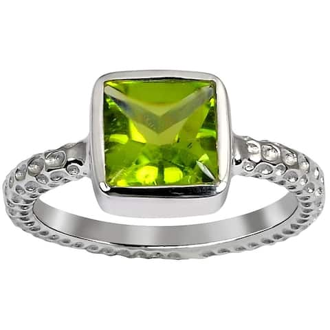 Peridot Sterling Silver Square Promise Ring by Orchid Jewelry