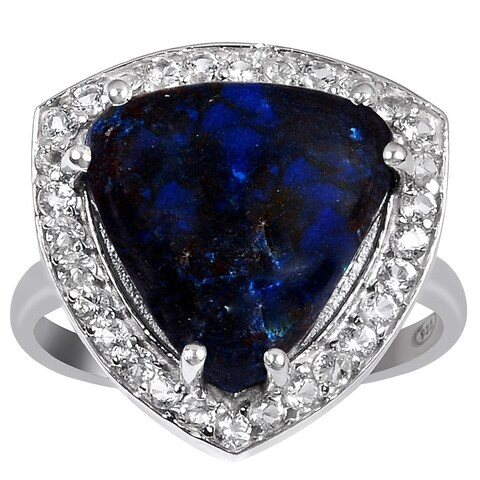 Orchid Jewelry 925 Sterling Silver 6 Carat Azurite and White Topaz Ring