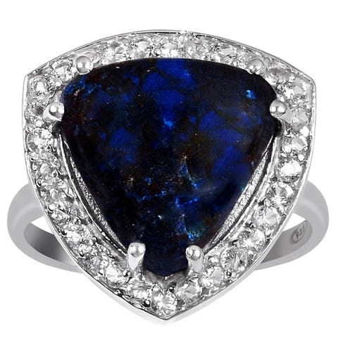 6.05 Carat Azurite, White Topaz Sterling Silver Ring By Orchid Jewelry