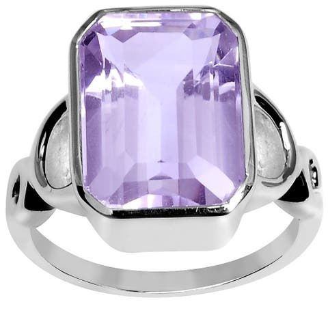 Amethyst Sterling Silver Octagon Wedding Ring by Orchid Jewelry