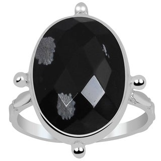 Orchid Jewelry 925 Sterling Silver 6 Carat Snowflake Obsidian Oval Ring