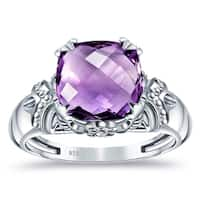 Orchid Jewelry 925 Sterling Silver 3 4/5 Carat Amethyst Ring