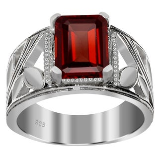 Orchid Jewelry 925 Sterling Silver 2 3/4 Carat Garnet Octagon Cut Ring