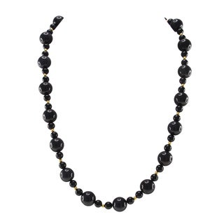 Pearlz Ocean Black Agate beads Strand Necklace Fashion Jewelry for Women