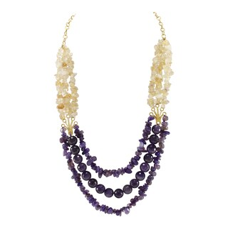 Pearlz Ocean Amethyst and Citrine Chips Beads Bib Strand Necklace Fashion Jewelry for Women