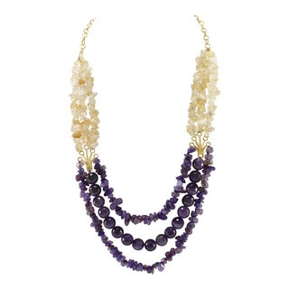 Pearlz Ocean Amethyst and Citrine Chips Beads Bib Strand Necklace Fashion Jewelry for Women - Purple