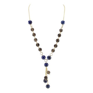 Pearlz Ocean Dyed Lapis Lazuli and Smoky Quartz Beads Strand Necklace Fashion Jewelry for Women