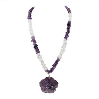 Pearlz Ocean Amethyst, White Crystal and Purple Shell Pendant Beads Strand Necklace Fashion Jewelry for Women