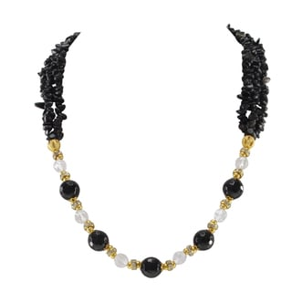 Pearlz Ocean Black Agate and White Crystal Golden tone Beads Strand Necklace Fashion Jewelry for Women