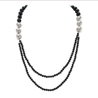 Pearlz Ocean Black Agate and Silver Beads 2 rows Strand Necklace Fashion Jewelry for Women