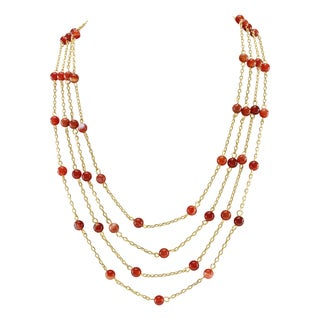 Pearlz Ocean Carnelian Beads 4 rows Strand Necklace Fashion Jewelry for Women