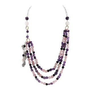 Pearlz Ocean Black Agate, Rose Quartz and Amethyst Beads Bib Strand Necklace Fashion Jewelry for Women