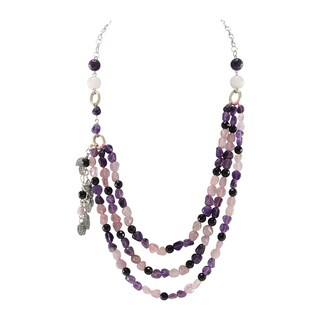 Pearlz Ocean Black Agate, Rose Quartz and Amethyst Beads Bib Strand Necklace Fashion Jewelry for Women - Purple