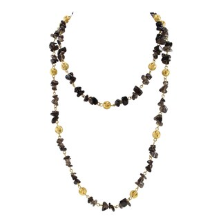 Pearlz Ocean Smoky Quartz Golden Beads Endless Strand Necklace Fashion Jewelry for Women