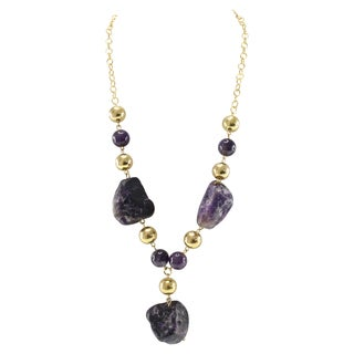 Pearlz Ocean Amethyst Golden Bead Strand Necklace Fashion Jewelry for Women