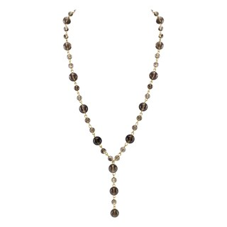 Pearlz Ocean Smoky Quartz Bead Strand Necklace Fashion Jewelry for Women