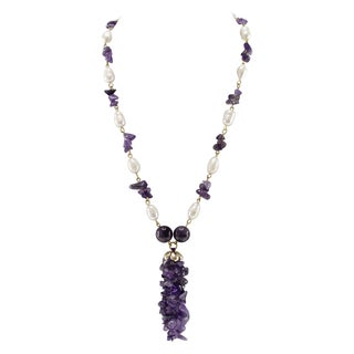 Pearlz Ocean Amethyst and Cultured Freshwater Pearl Beads Strand Necklace Fashion Jewelry for Women
