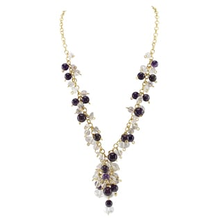 Pearlz Ocean Amethyst and White Crystal Bead Necklace Fashion Jewelry for Women