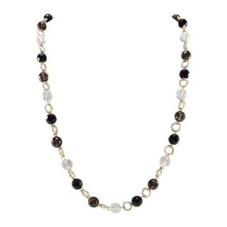 Pearlz Ocean White Crystal,Smoky Quartz and Black Agate Beads Endless Necklace Fashion Jewelry for Women