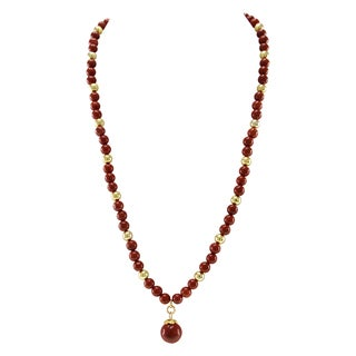 Pearlz Ocean Red Jasper Golden Beads and Hanging Pendant Strand Necklace Fashion Jewelry for Women