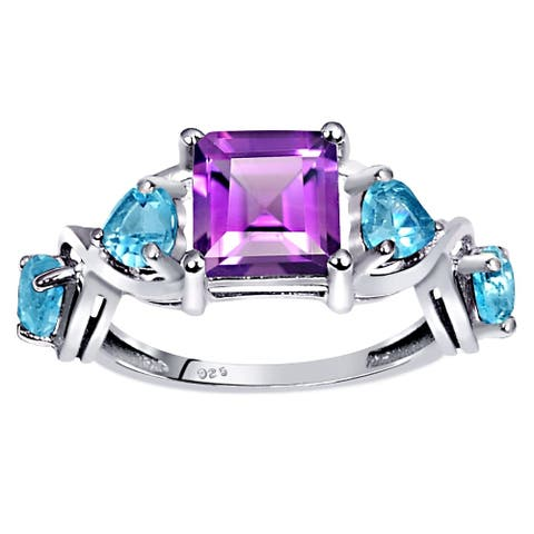 Amethyst, Blue Topaz Sterling Silver Square Anniversary Ring by Orchid Jewelry