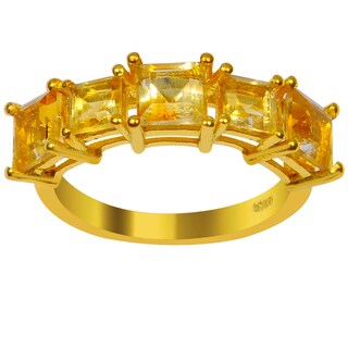 Orchid Jewelry 2 5/7 Carat Citrine 925 Sterling Silver Gold Overlay Ring
