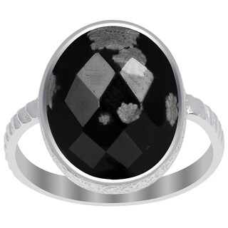 Orchid Jewelry 925 Sterling Silver 6 Carat Snowflake Obsidian Ring