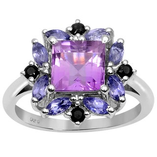 Orchid Jewelry 925 Sterling Silver 2 5/9 Carat Amethyst, Iolite and Sapphire Ring