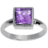 Orchid Jewelry 925 Sterling Silver 1 2/3 Carat Amethyst Birthstone Ring - Purple