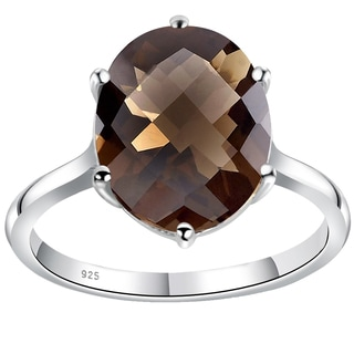 Orchid Jewelry 925 Sterling Silver 3 4/7 Carat Smoky Quartz Ring - Brown