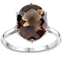 Orchid Jewelry 3 4/7 Carat Smoky Quartz 925 Sterling Silver Ring - Brown