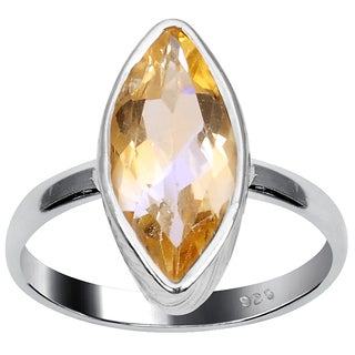 Orchid Jewelry 925 Sterling Silver 1 4/5 Carat Citrine Ring
