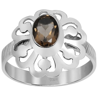 Orchid Jewelry 925 Sterling Silver 1 1/6 Carat Smoky Quartz Ring