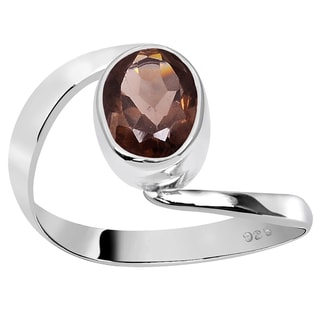 Orchid Jewelry 925 Sterling Silver 1 1/5 Carat Smoky Quartz Ring